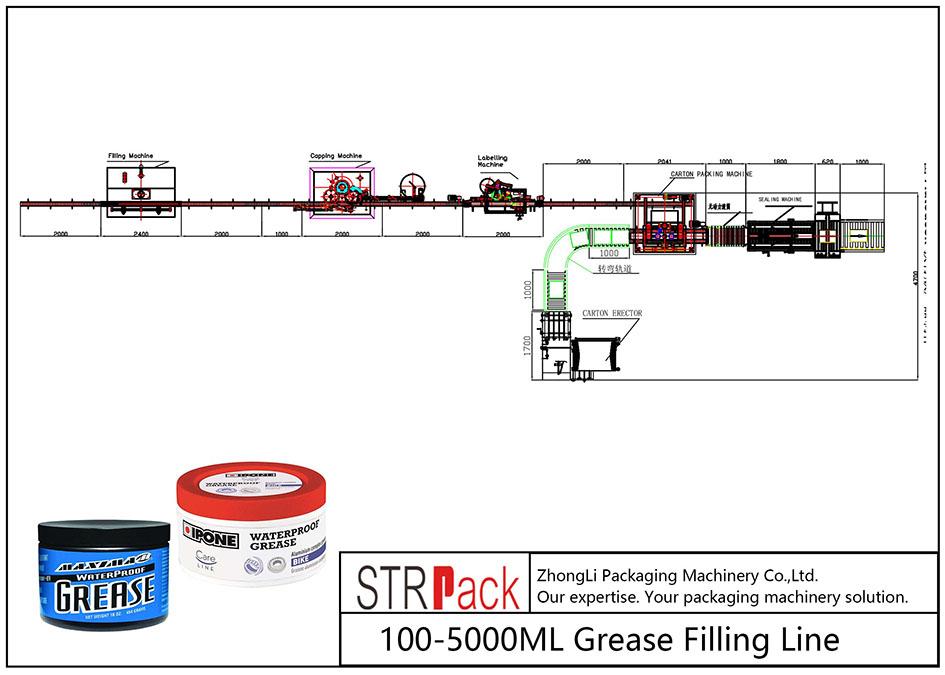 Automātiska 100ML-5L smērvielu iepildīšanas līnija