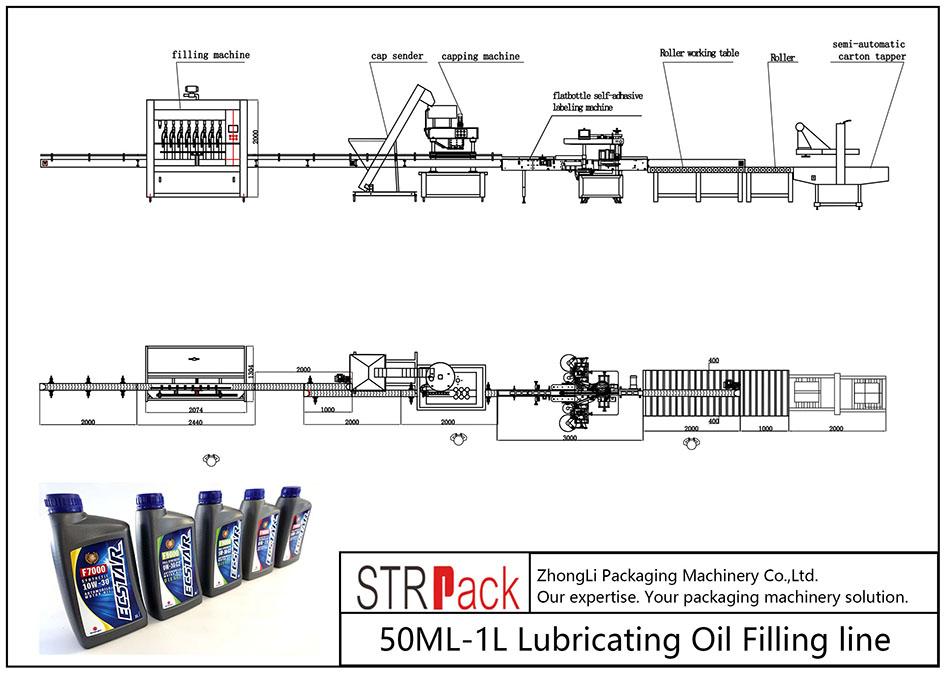 Automātiska 50ML-1L smēreļļas iepildīšanas līnija