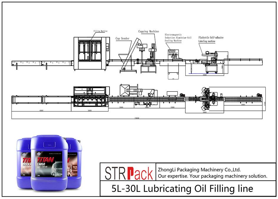 Automātiska 5L-30L smēreļļas iepildīšanas līnija
