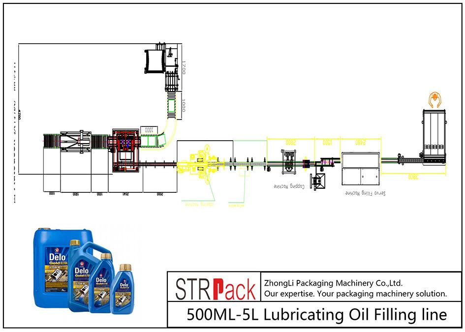 Automātiska 500ML-5L smēreļļas iepildīšanas līnija