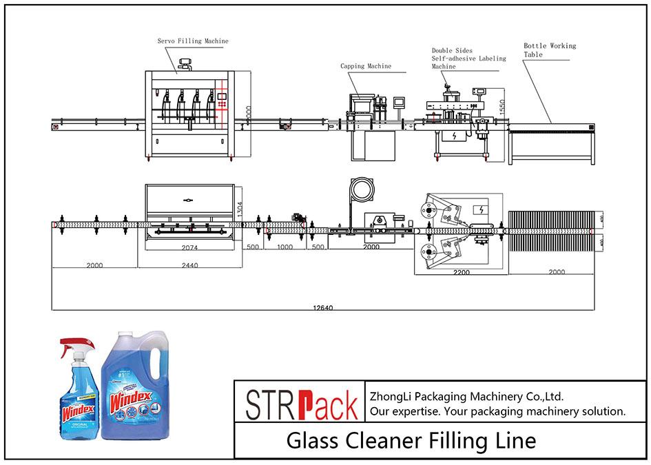 Automātiska stikla tīrītāja uzpildes līnija