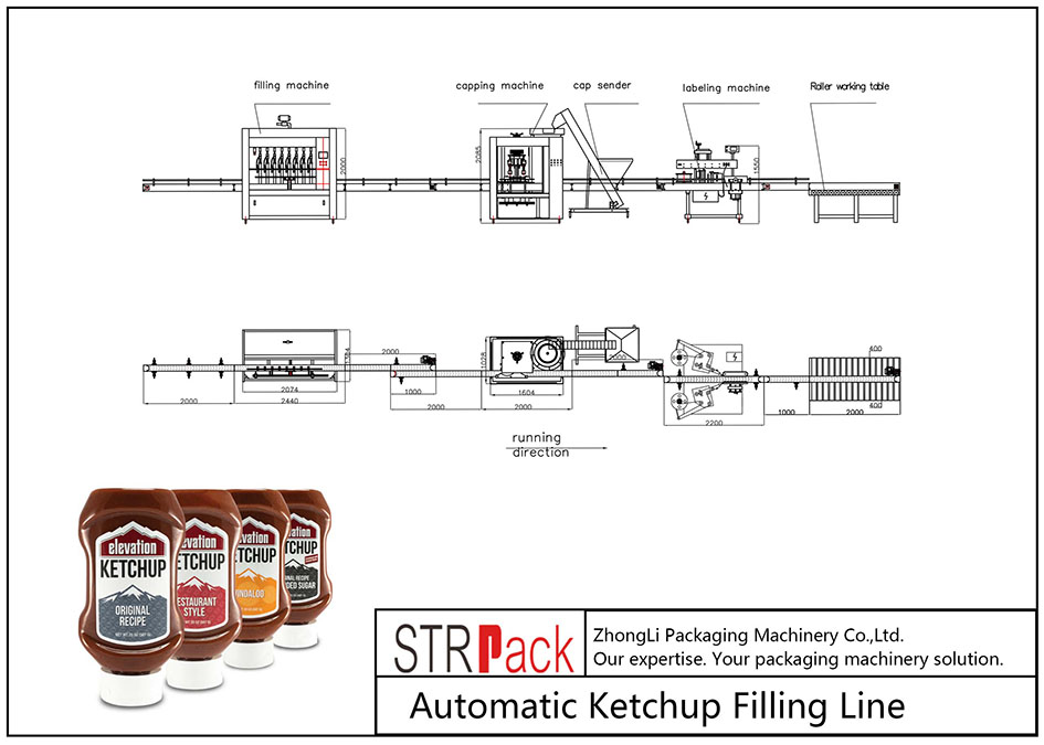 Automātiska kečupu uzpildes līnija