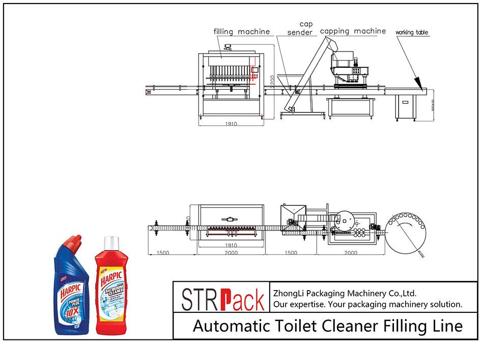Automātiskā tualetes tīrīšanas līdzekļa iepildīšanas līnija